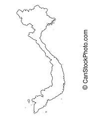 térkép, vietnam, áttekintés