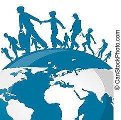 térkép, világ, bevándorlás, háttér emberek