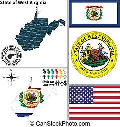 térkép, virginia, állam, usa, nyugat