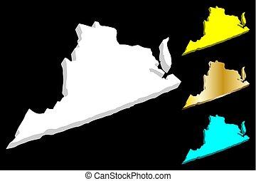 térkép, virginia, 3