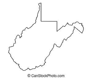 térkép, virginia, nyugat