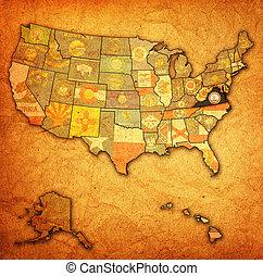 térkép, virginia, usa