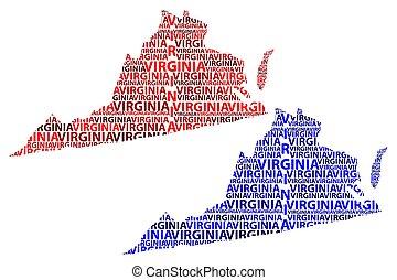 térkép, virginia