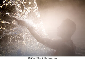 térmico, mulher, pool., relaxante, jovem