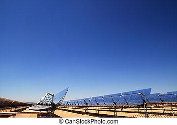 térmico, poder solar, espelhos