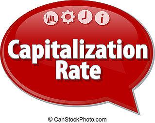 término, capitalization, ilustración negocio, tasa, burbuja...