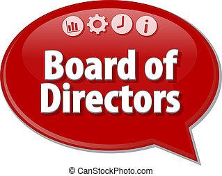 término, ilustración negocio, directores, discurso, tabla, ...