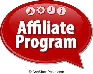 término, ilustración negocio, programa, affiliate, burbuja ...