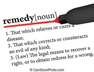 término, remedio, diccionario