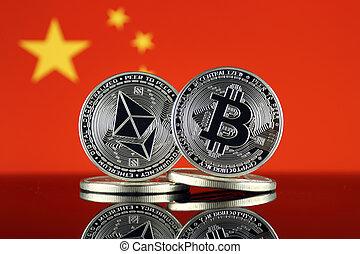 términos, china, versión, flag., (btc), bitcoin,...