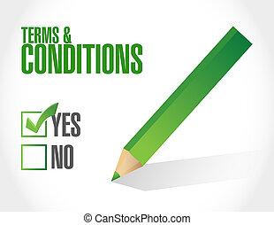 términos, condiciones, marca de verificación