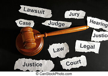 términos, legal, martillo, periódico, juez, titulares