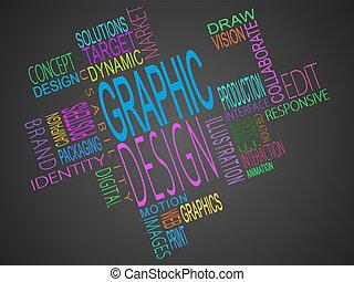 términos, montaje, gráfico, juntos, diseño