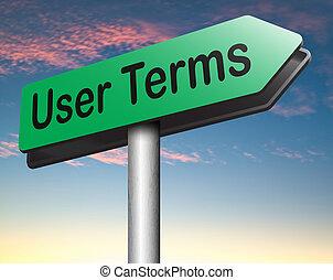términos, usuario