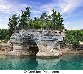 tévékép, kő, nemzeti, tó part, michigan, állam