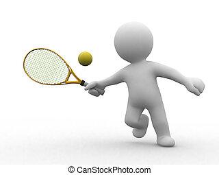 tênis, 3d, pessoas