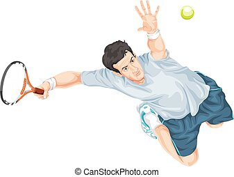 tênis, action., vetorial, jogador
