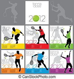 tênis, ases, 2012, calendário, modelo