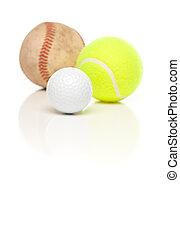 tênis, bola branca, golfe, basebol