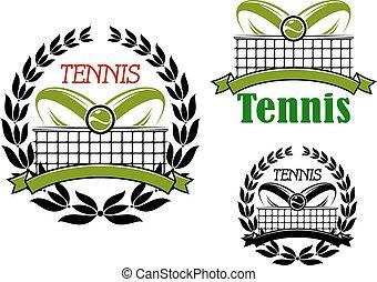 tênis, desporto, jogo, ícones, e, emblemas