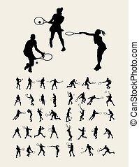 tênis, desporto, silhuetas