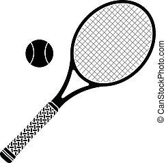 tênis, estêncil, racket.