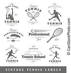 tênis, etiquetas, jogo, vindima