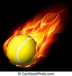 tênis, flamejante, bola