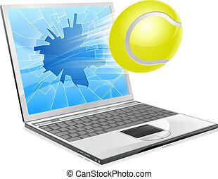 tênis, laptop, conceito