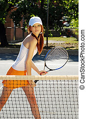 tênis, mulher jovem, pronto, ação