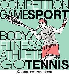 tênis, mulher, tocando, ilustração