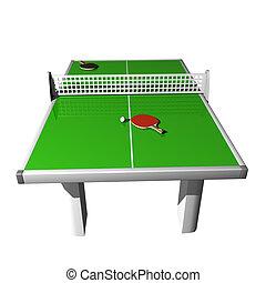 tênis tabela, 2, raquetes, e, bola, ligado, um, fundo branco