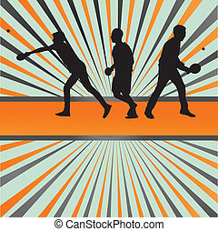 tênis tabela, jogador, silueta, tina pong, vetorial, estouro, fundo, para, cartaz