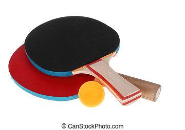 tênis tabela, raquetes, e, bola, ligado, um, fundo branco