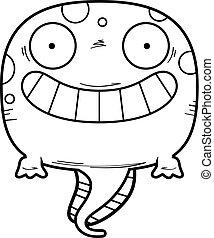 têtard, dessin animé, heureux