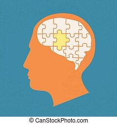 tête, éléments, gens, puzzles