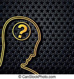 tête, étoile, résumé, fond jaune, technologie