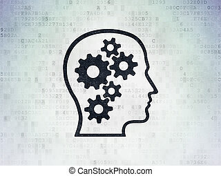 tête, étudier, papier, engrenages, fond, numérique, données, concept: