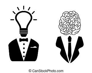 tête, 2, intelligent, gens, icône