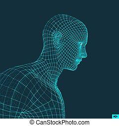 tête, 3d, figure, personne, géométrique, grid., design.
