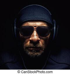 tête, a, homme, à, écouteurs