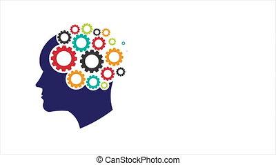 tête, abstraction, 1080, psychology., esprit, mouvement, pensée, graphique, mémoire, gears., formation, hd