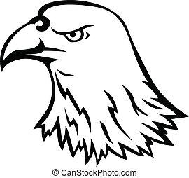tête, aigle, tatouage