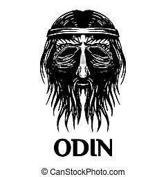 tête, ancien, dieu, scandinave, vecteur, odin, icône