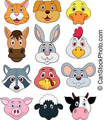 tête animale, dessin animé, ensemble