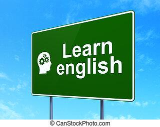 tête, apprendre, signe, concept:, engrenages, fond, anglaise, education, route