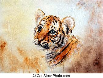 tête, bébé, adorable, haut, tigre, regarder