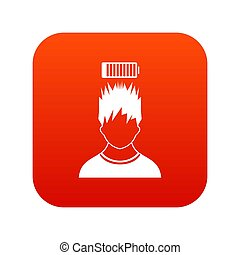 tête, batterie, sur, bas, homme numérique, rouges, icône