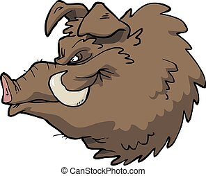 tête, boar's, dessin animé