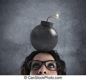 tête, bombe, assommé, femme affaires, sur, fort, mal tête